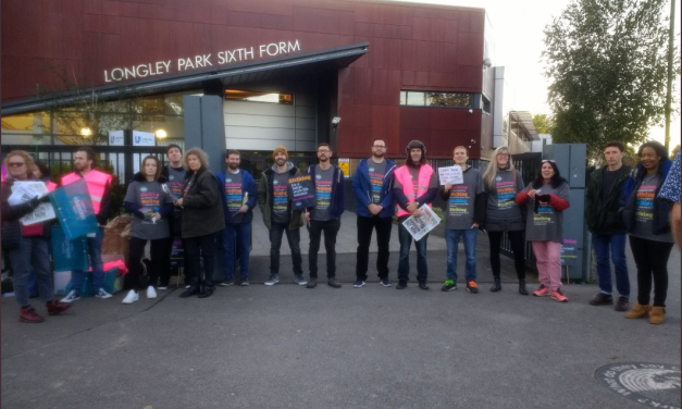 Longley Park Sixth Form College take to the picket line, with more strikes planned in November